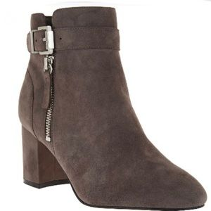 Marc Fisher Grey Suede Buckle Ankle Wynie Boots 9